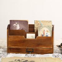 Zakka vintage wood storage cabinet book magazine newspaper rack file folder cabinet with drawer