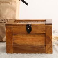 Zakka Large solid wood storage box with lock box storage box treasure box