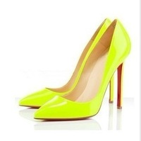 Free shipping 2013 hot Western star High heel Pointed Toe Fluorescent Club candy color sexy women's shoes Pluz Size:34-40 L523
