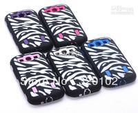 Hybrid Hard Plastic Soft Rubber black Zebra HIGH Impact CASE FOR Samsung Galaxy S3 i9300 100pcs