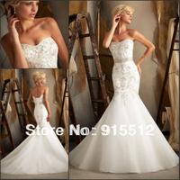 Hot Sale Elegant Sweetheart Neck Applique Embellished Lace Mermaid Dress Custom Made Bridal Wedding Dress