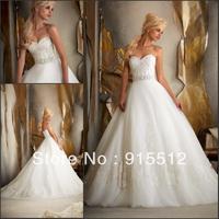 Hot Sale Elegant Sweetheart Neck Applique Embellished Sweep Train Custom Made Bridal Wedding Dress
