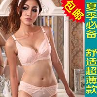 Sexy underwear big small bra women's 85c90b90c cup plus size bra ultra-thin push up set