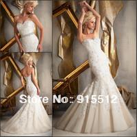 Hot Sale Elegant Sweetheart Neck Appliques Embellished Mermaid Wedding Dress Custom Made Bridal Wedding Dress