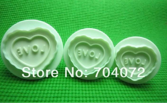 Min $20 3 pçs/set coração & Love forma fondant bolo biscoito Biscuit cortador Mold biscoito selo(China (Mainland))
