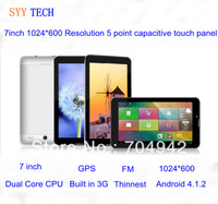 7 inch MTK6577 3G Dual core Android 4.1.2 Tablet PC 1024*600 resolution IPS 512 4GB FM Bluetooth GPS WIFI 3G Dual Sim card slot