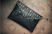 Ladies fashion balck skull rivets decor envelope bag evening bag day clutches shoulder bag free shipping 005