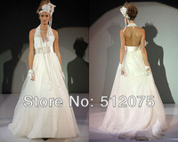 Wholesale Custom Made low price Halter OrganzaSexy Prom Dress 2013