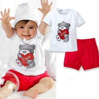 Free Shipping New Baby Kids Heart Bear Pattern 2PCS Set Tops+Pants Outfits Clothes 0-3 Year DropShipping XL063