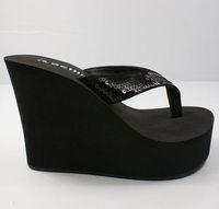 Hot-selling 2015 wedges flip flops shoes paillette flip slippers Women 10cm ultra high heels slippers