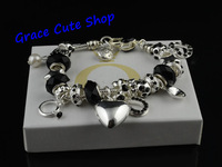 Free Shipping Silver Plating Charms Bracelet Beaded Bracelet Vintage Style Hand-Made High Polishing Top Quality #PB-36