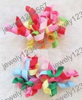 free shipping 3 inch Children's curlers bows with clip hair barrettes  Children's korker ribbon hair clip.50pcs/lot