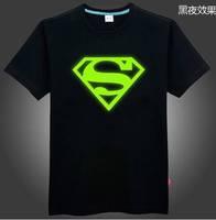 Luminous short-sleeve t-shirt super man t-shirt fluorescence noctilucent led lights up t shirt