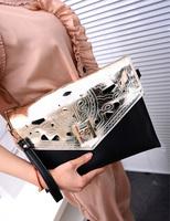 Aimali style 2013 fashion vintage carved women's handbag color block cutout handbags envelope day clutch gold  wholesale