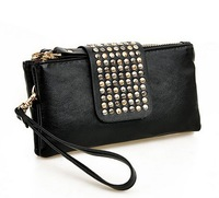 Ladies fashion black high quality rivet decor day clutches evening bag wallet Purse free shipping 015