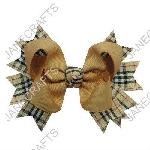 "12 pcs 4.5"" vieil or large ruban vichy pic arc cheveux clips"