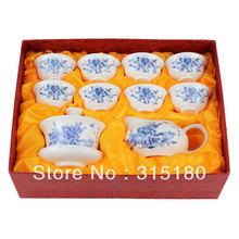 wholesale Blue Peony Jade Porcelain Tea Set Kung Fu Teaset Ceramic Teaware free shipping free shipping