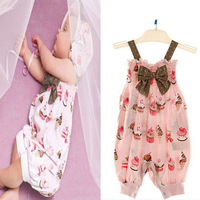 New Cute Polka Dot Baby Girl Romper Jumpsuit With Bow 2013 Causal Summer Kids Suspenders Overalls Baby Clothing Freeshipping