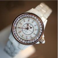 Freeshipping Newest arrival  Full diamond 100% Original Ceramic Quartz Luxury Women's Watch genuine ceramic ladies Wrist Watch