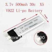 5 x 3.7V 500mAh 30C Li-po Battery V922  WLtoys V922 RC Helicopter Spare Parts V922-25