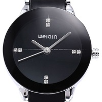 Fashion WEIQIN Crystal Black Dial Stainless Steel Case Lady Women Bracelet Stainless Steel & Plastic Band Quartz Watch/ WQI030