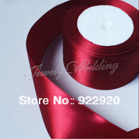 "Free shipping 1.5"" (38mm) single face Dark Red Satin Ribbon/webbing decoration/crafts materials 25 yards/roll MOQ: 50Y"