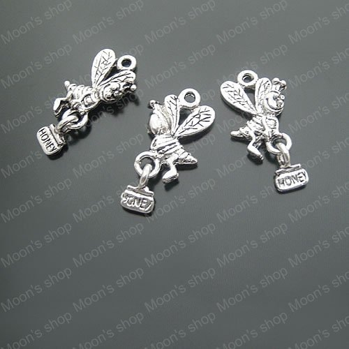 Wholesale 12 22mm Antique Silver Bees Honey Alloy Flat Charms Pendants DIY Findings Accessories 10 pieces