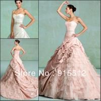 Hot Sale Elegant Sweetheart Neck Ruched Pleat Lace Up Court Train Taffeta Custom Made Bridal Wedding Dress