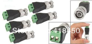 100pcs/Lot Coax CAT5 to Camera CCTV BNC Male Video Balun Connectors Plug Jack