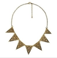 6pcs/lot,Europe and the United States jewelry punk retro triangle pattern geometric Necklace.