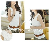 Hot Sale. Free Shipping Women Ladies Tank Top Camisole 3 Layers Lace Ruffle Collar Cotton T shirts Rose Vest 6 Colors 5 pcs/lot