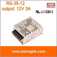 Free Shipping- RS-35-12 single output switching power supply output  12V 3A meanwell  rs-35-12  RS35 12V -New and original