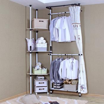 Simple wardrobe loading combination corner coatroom rack steelframe storage wardrobe multifunctional clothes rack