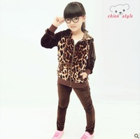2013 new girl autumn suit children leopard-print velvet two setsZJ150