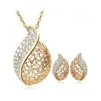 free shipping crystal inset gold plated hollow heart pendant earrings and necklace jewelry set