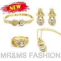 Free Shipping Wholesales 2013 Summer 18K GP Alloy Rhinestone Necklace+Earrings+Bracelet+Ring Buckle Shape Jewelry Set 728