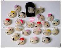 HOT 104pcs/Lot Hello Kitty Nail Art 3d Beauty Lovely Glitter Clear Resin Cat+Bow DIY Nails Decoration Mixed Colors Free Shipping