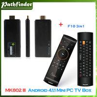 Model:MK802 III Dual Core Android 4.1.1 Mini PC TV Box RK3066 1.6GHz 1G RAM 8G ROM HDMI Black+F10 Remote Control