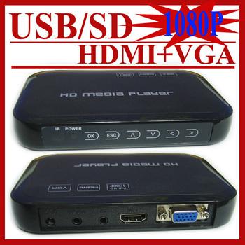 Free Shipping!Full HD 1080P USB External HDD Media Player with HDMI VGA SD support MKV H.264 RMVB WMV