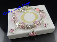 Free Shipping Pink Crystal Charms Bracelet Crystal Beads Bracelet Silver Plating Hand-Made Top Quality #PB-77