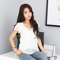 2013 women's summer t-shirt short-sleeve plus size lotus leaf knitted cool chiffon shirt