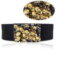 Free Shipping Crystal Cummerbund Black Ultra Wide Strap Fashion Elastic Belt Women Plus Size Dress Accessories Broadened BE001