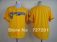 Free Shipping 2013 New Brand Mens Baseball Jerseys Milwaukee Brewers Authentic Blank Cerveceros #Customized Jersey,100% Stitched