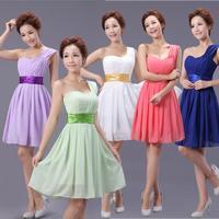 Short design  mint green strap formal dress evening dress one shoulder chiffon dress