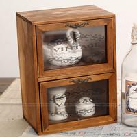 Zakka vintage wood solid wood storage cabinet cosmetics storage cabinet glass drawer cabinet