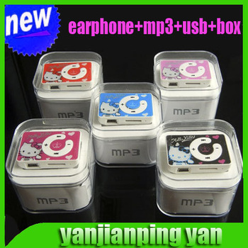 new mini clip hello Kitty MP3 player support TF card with USB Cable Earphone Crystal Box Free shipping