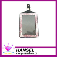 (LGA015) Free Shipping (10pcs/lot) Crystal Rhinestone Lanyard Badge Holders Pink Leather Luggage Tag