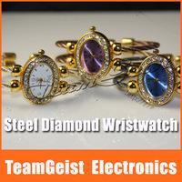 Fashion Bracelet Style Lady's Wrist Watch, Elegance Jewelry Diamond Gold Dual Steel Band Quartz ladies Watch Free Shipping