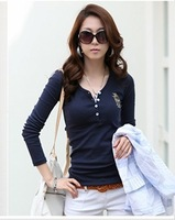 2013 women's t-shirt slim V-neck embroidery long-sleeve T-shirt basic shirt plus size female  camisas top women camisa women