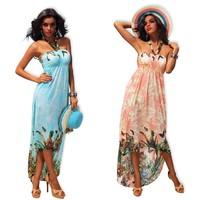 2013 women's summer one-piece flower print dress bohemia full irregular dress beach dress halter strap plus size XXL  4185
